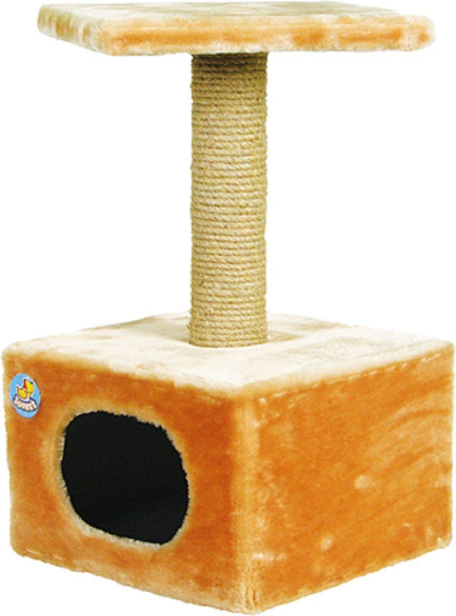 Дом для кошек Зооник, цвет: бежевый, 34 х 34 х 60 см2201-1Дом для кошек Зооник изготовлен из высококачественного искусственного меха. Просторный домик подойдет для котят и для взрослых кошек. Над основным местом отдыха находится дополнительная площадка, на которой ваш любимец сможет полежать свесив лапки. Также предусмотрена когтеточка из комбинированной веревки (пенька/сизаль). Домики ТМ Зооник отличает высокое российское качество при доступной цене. Цвет бежевый.