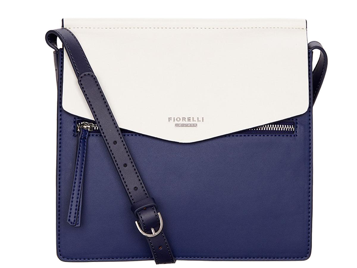 Сумка женская Fiorelli, цвет: синий, белый. 8632 FH Blue mix8632 FH Blue mixЭлегантная женская сумка Fiorelli изготовлена из качественной искусственной кожи. Модель с тремя отделениями закрывается на клапан с магнитной кнопкой. На лицевой части расположен врезной карман на молнии. Сумка оснащена плечевым ремнем, который можно регулировать по длине.