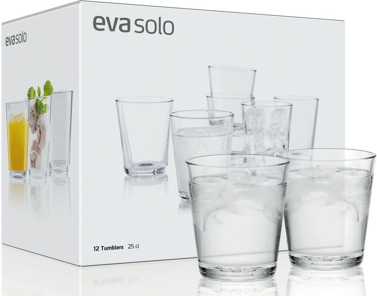 Стаканы Eva Solo, 12 х 250 мл. 567422567422Набор из 12 стаканов для холодных и горячих (до 130°С) напитков. Также стаканы можно использовать для десертов. Прочное выдувное стекло. Объем 250 мл, простая и стильная форма. Стаканы подойдут для ежедневного использования и отлично будут смотреться на праздничном столе.