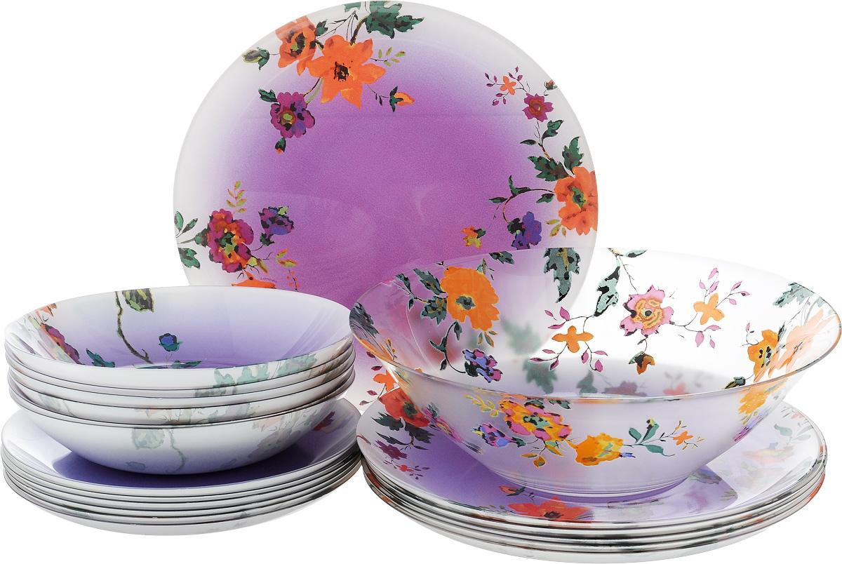 Набор столовый Luminarc Maritsa Purple, 19 предметовJ7606Столовый набор Luminarc Maritsa Purple состоит из 6 суповых тарелок, 6 обеденных тарелок, 6 десертных тарелок и глубокого салатника. Изделия, выполненные из высококачественного ударопрочного стекла, оформлены цветочным рисунком и имеют классическую круглую форму. Посуда отличается прочностью, гигиеничностью и долгим сроком службы, она устойчива к появлению царапин и резким перепадам температур. Такой набор прекрасно подойдет как для повседневного использования, так и для праздников или особенных случаев. Изделия можно мыть в посудомоечной машине и использовать в микроволновой печи. Диаметр суповой тарелки (по верхнему краю): 20 см. Высота суповой тарелки: 4 см . Диаметр обеденной тарелки (по верхнему краю): 26 см. Высота обеденной тарелки: 1,8 см. Диаметр десертной тарелки (по верхнему краю): 20,5 см. Высота десертной тарелки: 1,7 см. Диаметр салатника (по верхнему краю): 27 см. Высота стенки...
