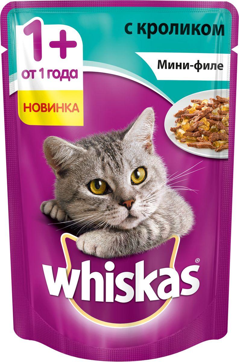 Консервы для кошек Whiskas, мини-филе, желе с кроликом, 85 г4607065379469