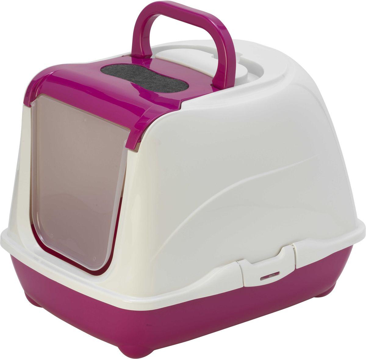 Туалет закрытый для кошек Moderna Flip Cat, цвет: ярко-розовый, 39 х 50 х 37 см14C230328