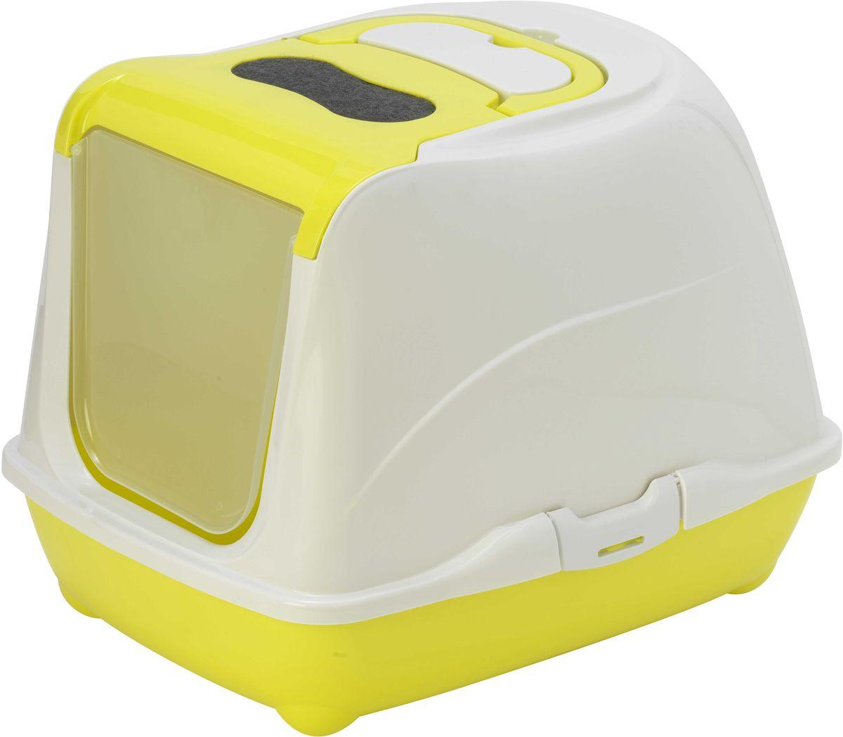 Туалет закрытый для кошек Moderna Flip Cat, цвет: лимон, 39 х 50 х 37 см14C230329