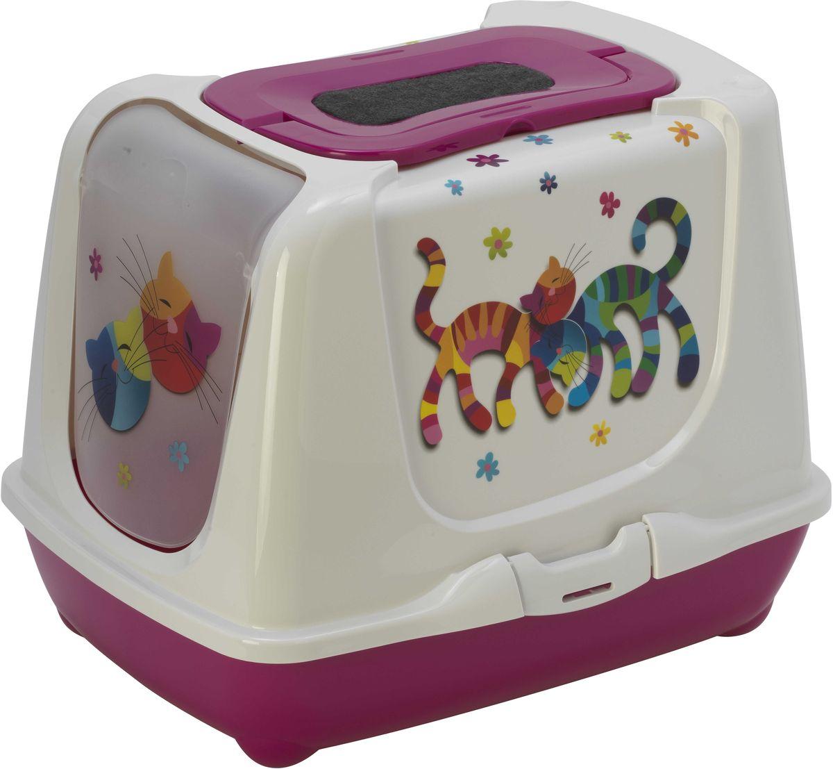 Туалет закрытый для кошек Moderna Trendy Cat. Друзья Навсегда, цвет: ярко-розовый, 50 х 39,5 х 37,5 см14C235328