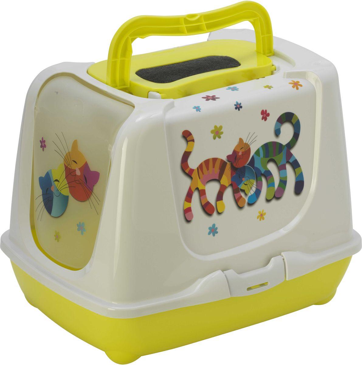 Туалет закрытый для кошек Moderna Trendy Cat. Друзья Навсегда, цвет: лимон, 50 х 39,5 х 37,5 см14C235329