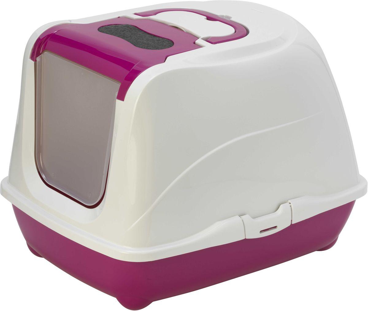 Туалет закрытый Moderna Flip Cat, для больших кошек, цвет: ярко-розовый, 58 х 45 х 42 см14C240328