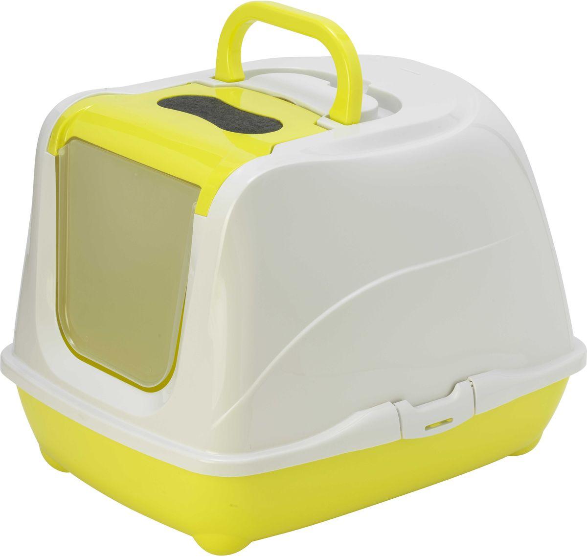 Туалет закрытый Moderna Flip Cat, для больших кошек, цвет: лимон, 58 х 45 х 42 см14C240329