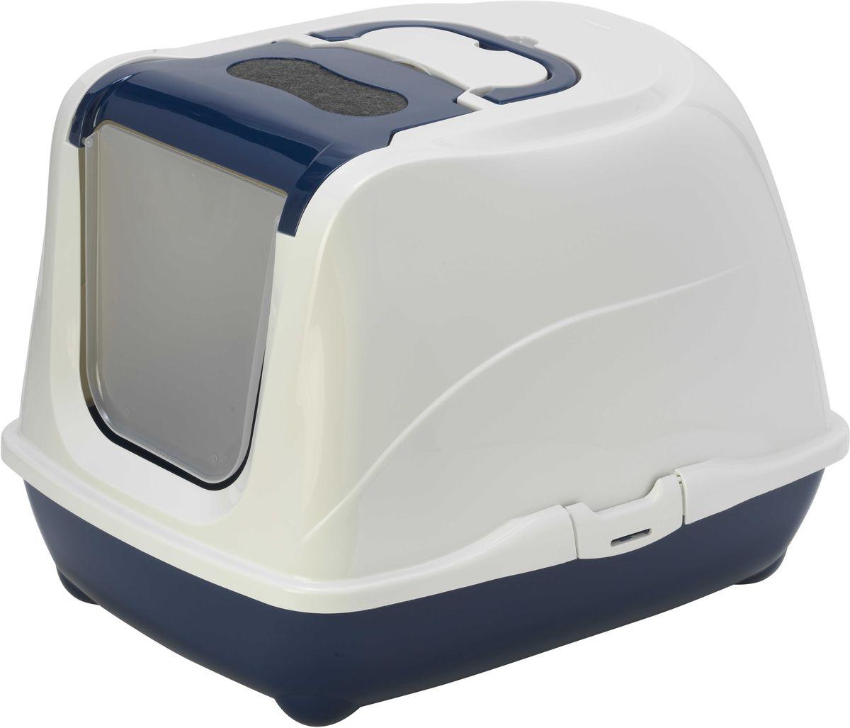 Туалет закрытый Moderna Flip Cat, для больших кошек, цвет: черника, 58 х 45 х 42 см14C240331