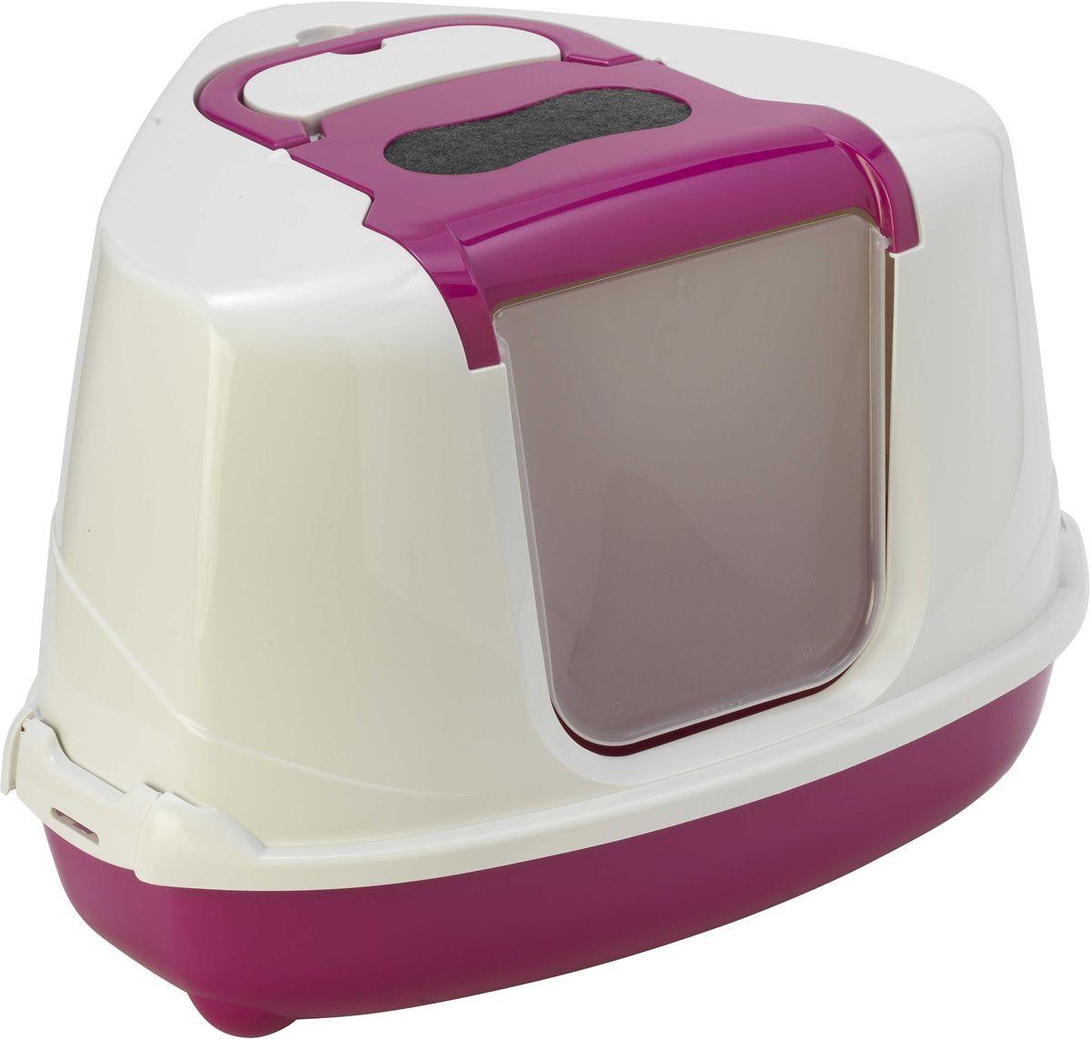 Туалет угловой закрытый для кошек Moderna Flip Corner, цвет: ярко-розовый, 56 х 45 х 39 см14C250328