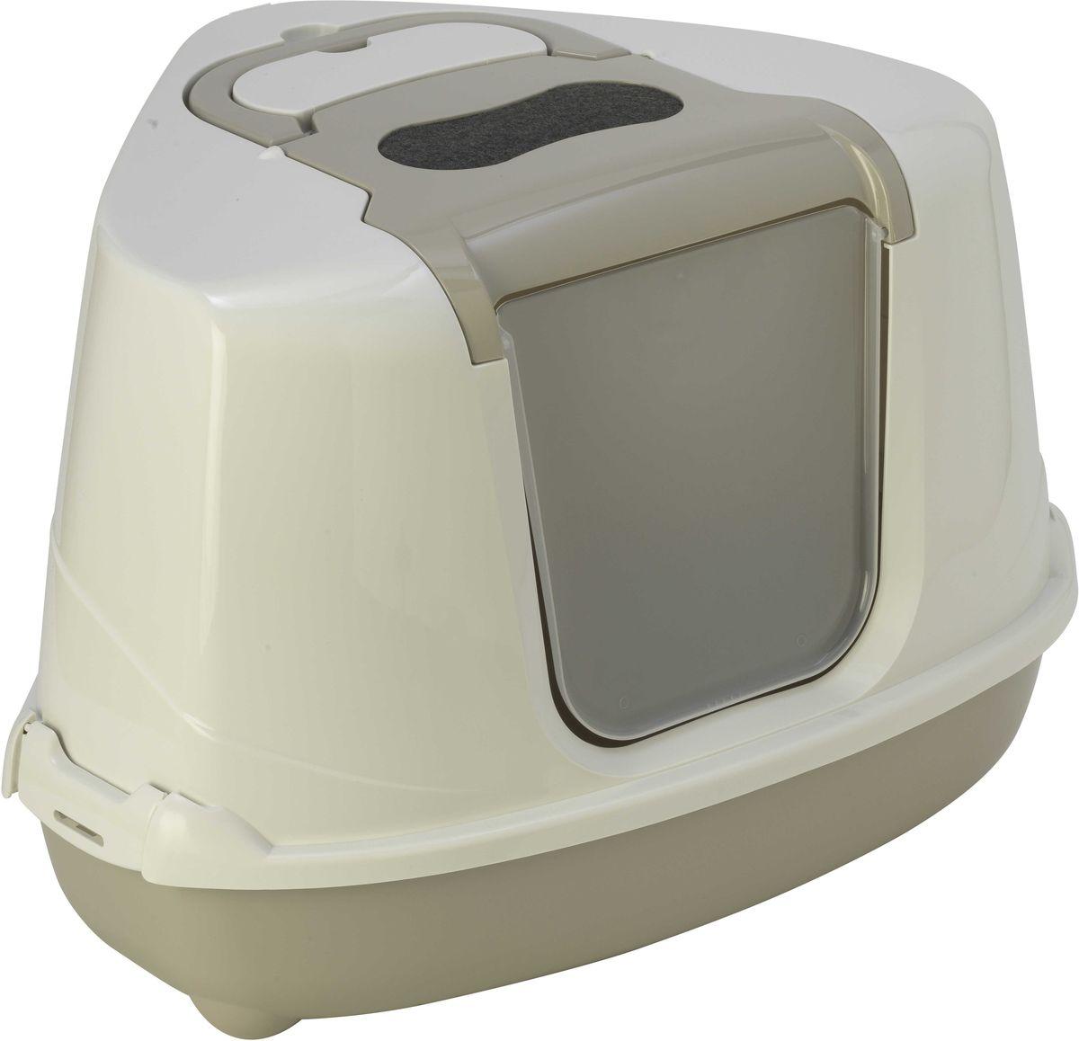 Туалет угловой закрытый для кошек Moderna Flip Corner, цвет: светло-серый, 56 х 45 х 39 см14C250330