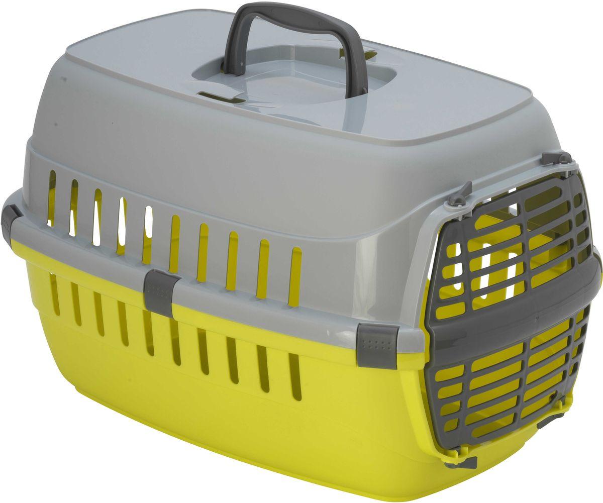 Переноска Moderna Roadrunner 1, с пластиковой дверью, цвет: лимон, 31 х 51 х 34 см14T100329