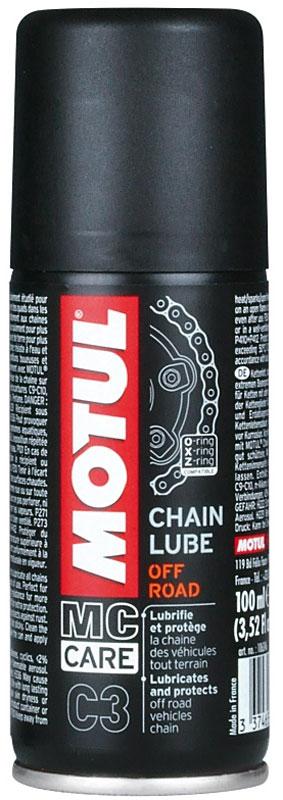 Смазка цепи Motul С3 Chain Lube Off Road, 400 мл102982Смазка для цепей внедорожных мотоциклов. Маслянистая, окрашена в едко-желтый цвет. Аэрозоль. Все типы цепей: для стандартных и кольцеобразных втулок O-Ring, X-Ring, Z-Ring. Мотокросс, эндуро, триал, четырехколесник и т.д. Специально рекомендован для внедорожных мотоциклов: Motul Chain Lube Off Road не провоцирует прилипания земли и песка.