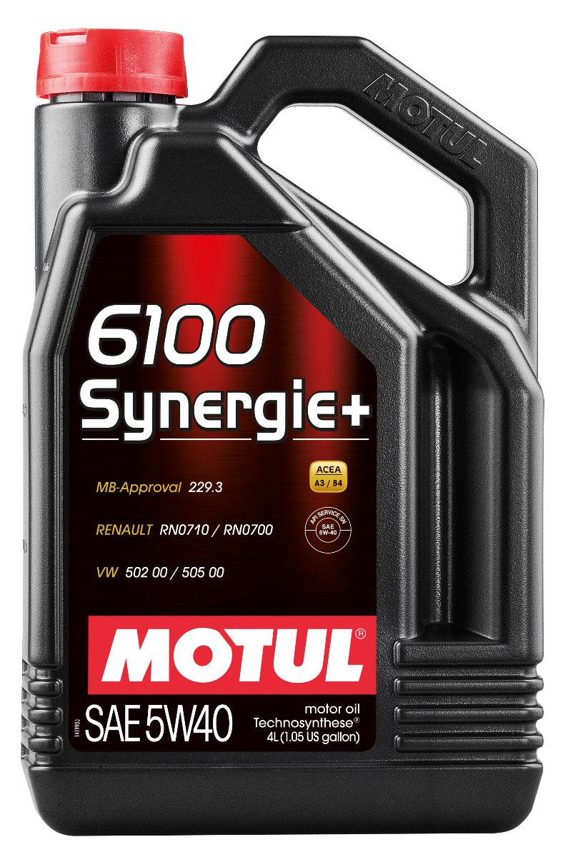 Масло моторное Motul 6100 Synergie+, синтетическое, 5W-40, 4 л106020Моторное масло для бензиновых и дизельных двигателей Technosynthese. Всесезонное моторное масло, созданное процессом Technosynthese. Рекомендуется для современных бензиновых и дизельных двигателей легковых автомобилей. Высокое качество продукта позволяет использовать его для высокотехнологичных двигателей: многоклапанных, инжекторных, турбированных. Допускается смешивать с высокотехнологичными минеральными и синтетическими маслами. ACEA Стандарты: ACEA A3/B4 API Стандарты: API SN/CF Одобрения: MB-Approval 229.3; VW 502 00 - 505 00; RN0710 - 0700
