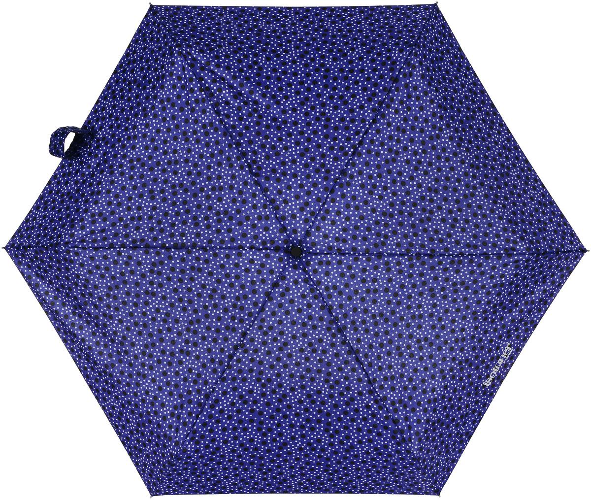 Зонт женский Isotoner Галактика, механический, 5 сложений, цвет: синий, мультиколор. 09137-363809137-3638Компактный женский зонт Isotoner изготовлен из металла и пластика. Каркас зонта на прочном металлическом стержне. Купол зонта изготовлен качественного полиэстера. Закрытый купол застегивается на липучку хлястиком. Практичная рукоятка закругленной формы разработана с учетом требований эргономики. Зонт складывается и раскладывается механическим способом. Такой зонт не только надежно защитит от дождя, но и станет стильным аксессуаром.