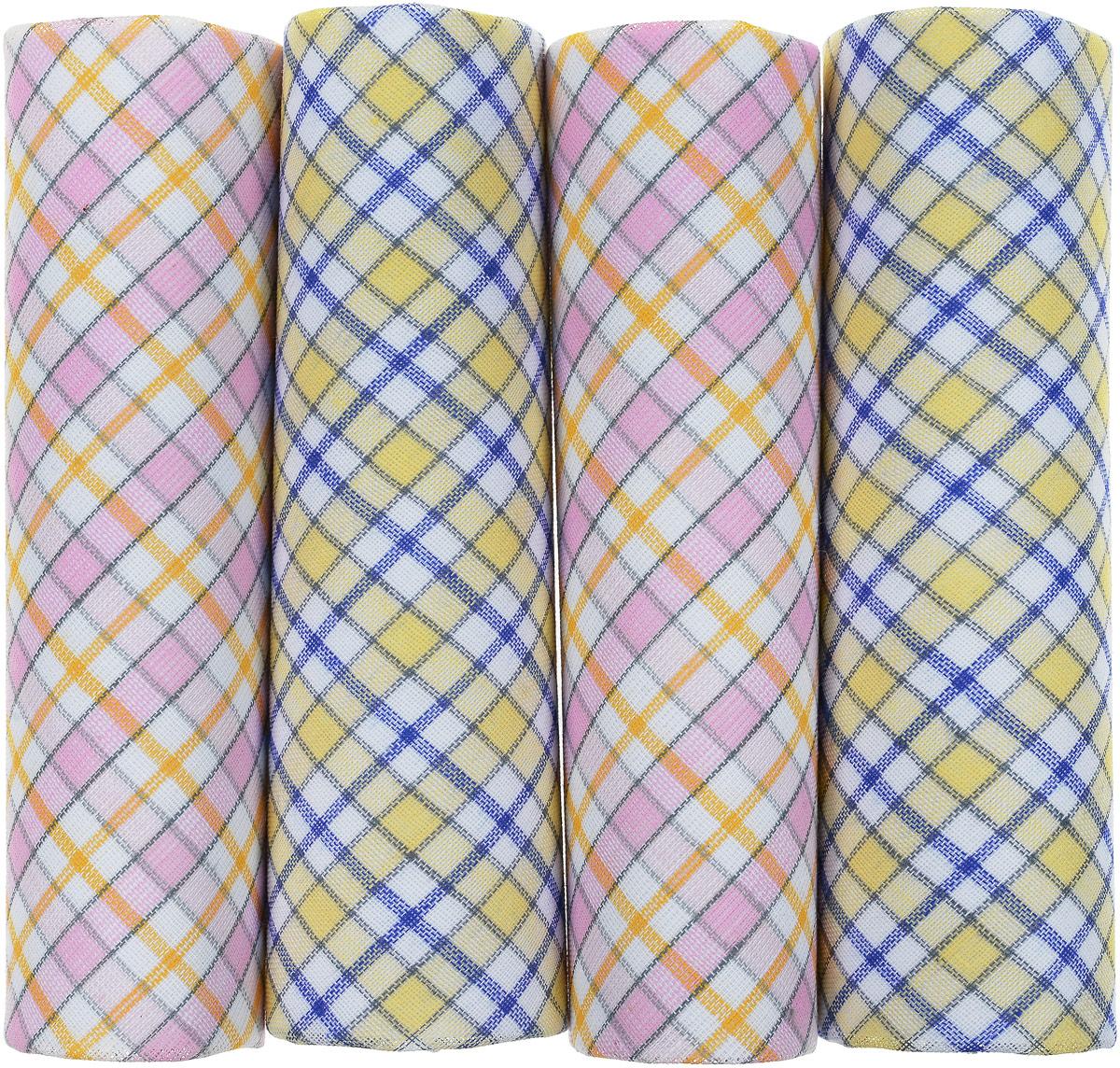 Носовой платок женский Zlata Korunka, цвет: желтый, синий, розовый. Размер 28 х 28 см, 4 шт71420_желтый, голубой, розовыйЖенский носовой платок Zlata Korunka изготовлен из высококачественного натурального хлопка, благодаря чему приятен в использовании, хорошо стирается, не садится и отлично впитывает влагу. Практичный и изящный носовой платок будет незаменим в повседневной жизни любого современного человека. Такой платок послужит стильным аксессуаром и подчеркнет ваше превосходное чувство вкуса. В комплекте 4 платка.