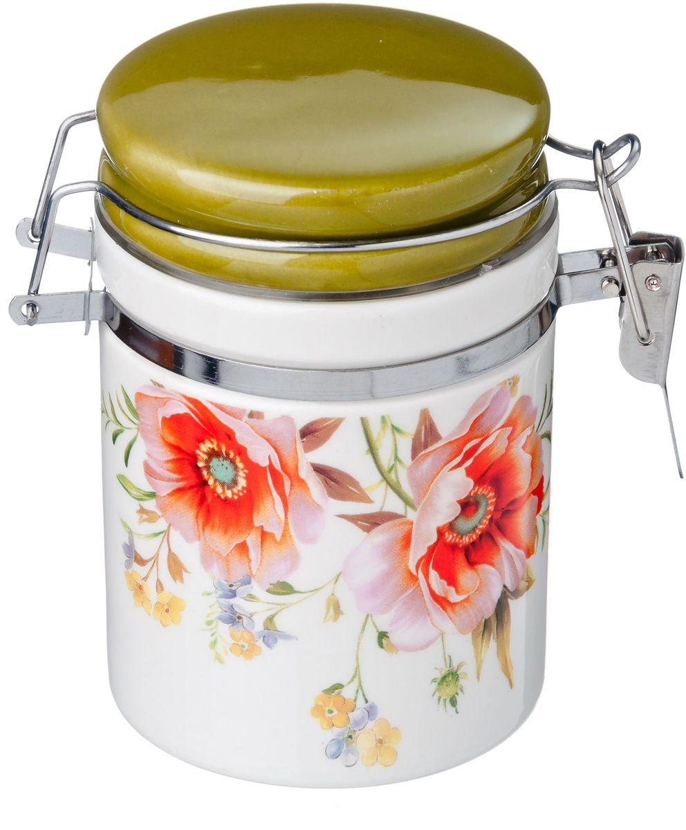 Банка для сыпучих продуктов Vetta Весна, с зажимом, 250 мл824726Банка для сыпучих продуктов Весна изготовлена из прочной керамики. Изделие оформлено красочным цветочным изображением. Банка прекрасно подойдет для хранения различных сыпучих продуктов: чая, кофе, сахара, и многого другого. Благодаря силиконовой прослойке и бугельному замку, крышка герметично закрывается, что позволяет дольше сохранять продукты свежими. Изящная емкость не только поможет хранить разнообразные сыпучие продукты, но и стильно дополнит интерьер кухни.
