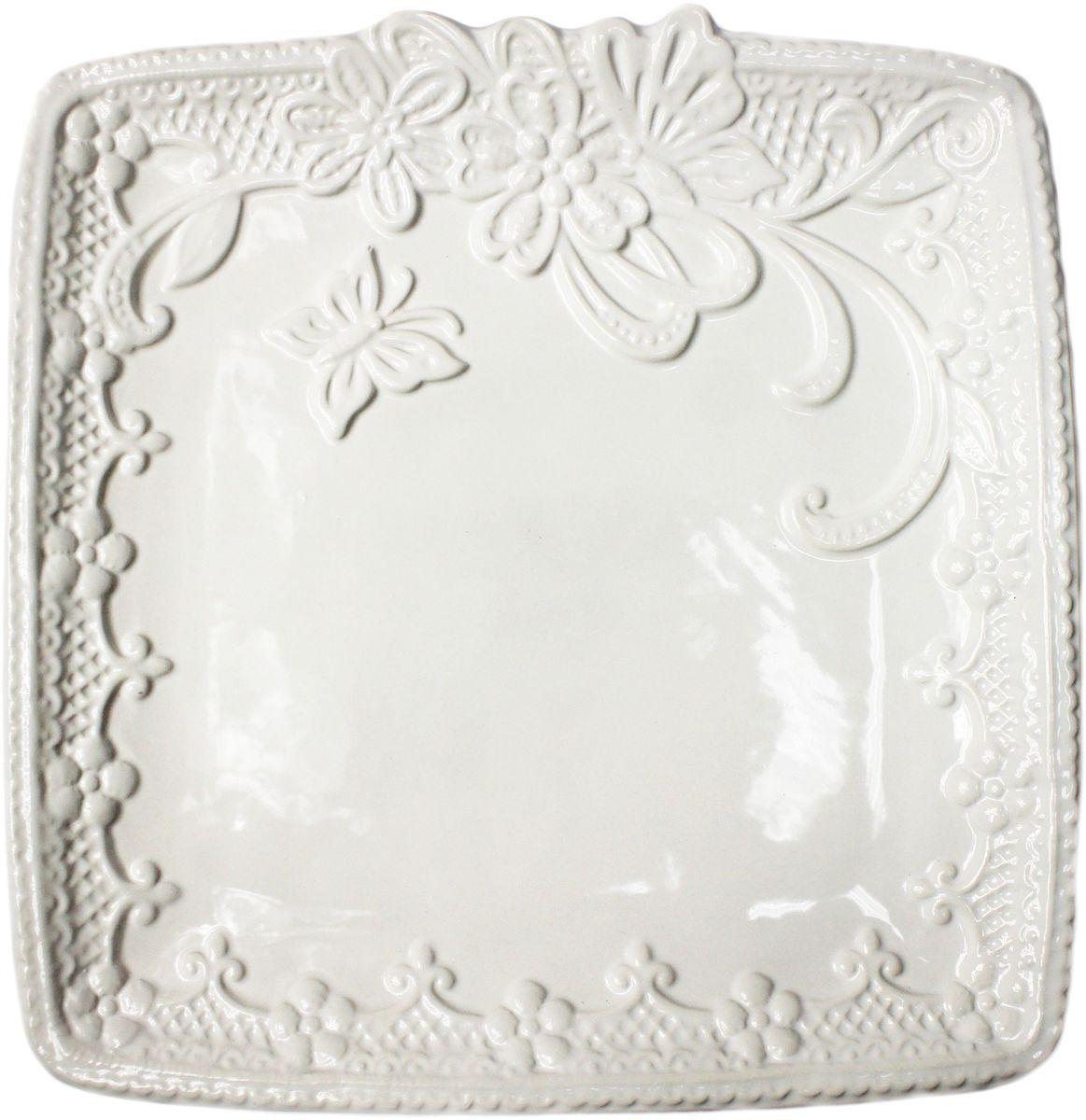 Тарелка Vetta Бабочка, квадратная, 25 х 25 см824784Тарелка Бабочка, выполненная из высококачественной керамики белого цвета, украшена рельефным рисунком в виде узоров, бабочек и цветов. Такая тарелка прекрасно подойдет как для торжественных случаев, так и для повседневного использования. Идеальна для подачи вторых блюд. Тарелка Бабочка прекрасно оформит стол и станет отличным дополнением к вашей коллекции кухонной посуды.