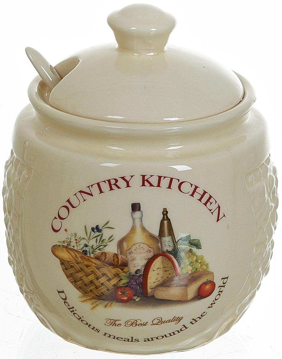 Сахарница Polystar Country Kitchen, с ложкой, 450 млL0210035Сахарница Country Kitchen с крышкой и ложкой изготовлена из керамики и украшена оригинальным рисунком. Емкость универсальна, подойдет как для сахара, так и для меда.