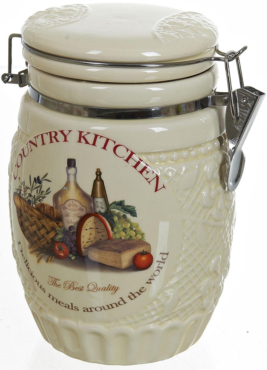 Банка для сыпучих продуктов Polystar Country Kitchen, 1,04 лL0210040Банка для сыпучих продуктов Country Kitchen изготовлена из прочной керамики, закрывается крышкой. Банка прекрасно подойдет для хранения различных сыпучих продуктов: чая, кофе, сахара, круп и многого другого. Благодаря силиконовой прослойке и бугельному замку, крышка герметично закрывается, что позволяет дольше сохранять продукты свежими. Изящная емкость не только поможет хранить разнообразные сыпучие продукты, но и стильно дополнит интерьер кухни.