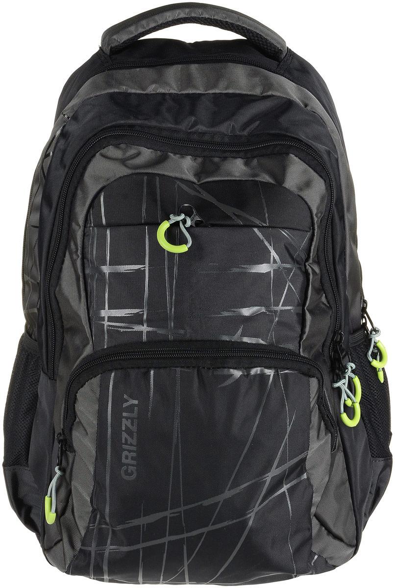 Рюкзак мужской Grizzly, цвет: черный, серый. RU-715-3/4RU-715-3/4Рюкзак Grizzly - это красивый и удобный рюкзак, который подойдет всем, кто хочет разнообразить свои будни. Рюкзак выполнен из плотного материала с оригинальным графическим принтом. Рюкзак содержит два вместительных отделения, каждое из которых закрывается на молнию. Внутри первого отделения имеется открытый накладной карман, на стенке которого расположился врезной карман на молнии. Внутри второго отделения расположены три открытых накладных кармана и карман-сетка на молнии. Снаружи, по бокам изделия, расположены два открытых кармана. Лицевая сторона дополнена двумя вместительными карманами на молниях. Рюкзак оснащен мягкой укрепленной ручкой для переноски, петлей для подвешивания и двумя практичными лямками регулируемой длины. У лямок имеется нагрудная стяжка-фиксатор. Практичный рюкзак станет незаменимым аксессуаром и вместит в себя все необходимое.