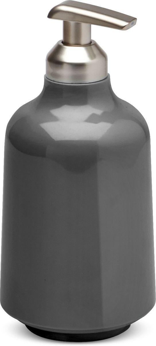 Диспенсер для мыла Umbra Step, цвет: темно-серый, 8,5 х 8,5 х 18 см023838-149Step – коллекция минималистичных и функциональных предметов, изготовленных из меламина. Лаконичный и удобный диспенсер можно использовать как в ванной для жидкого мыла или на кухне для моющего средства. Объем 385 мл Дизайн: Tom Chung