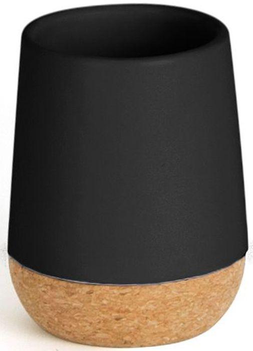 Стакан для ванной Umbra Kera, цвет: черный, 10,2 х 7,6 х 7,6 см023860-040Простой и элегантный аксессуар, выполненный в минималистичном скандинавском стиле. Изготовлен из натуральных материалов: керамики и пробкового дерева. Простые линии и естественные цвета делают стакан универсальным для любого типа ванной. Дизайн: Erika Kovesdi