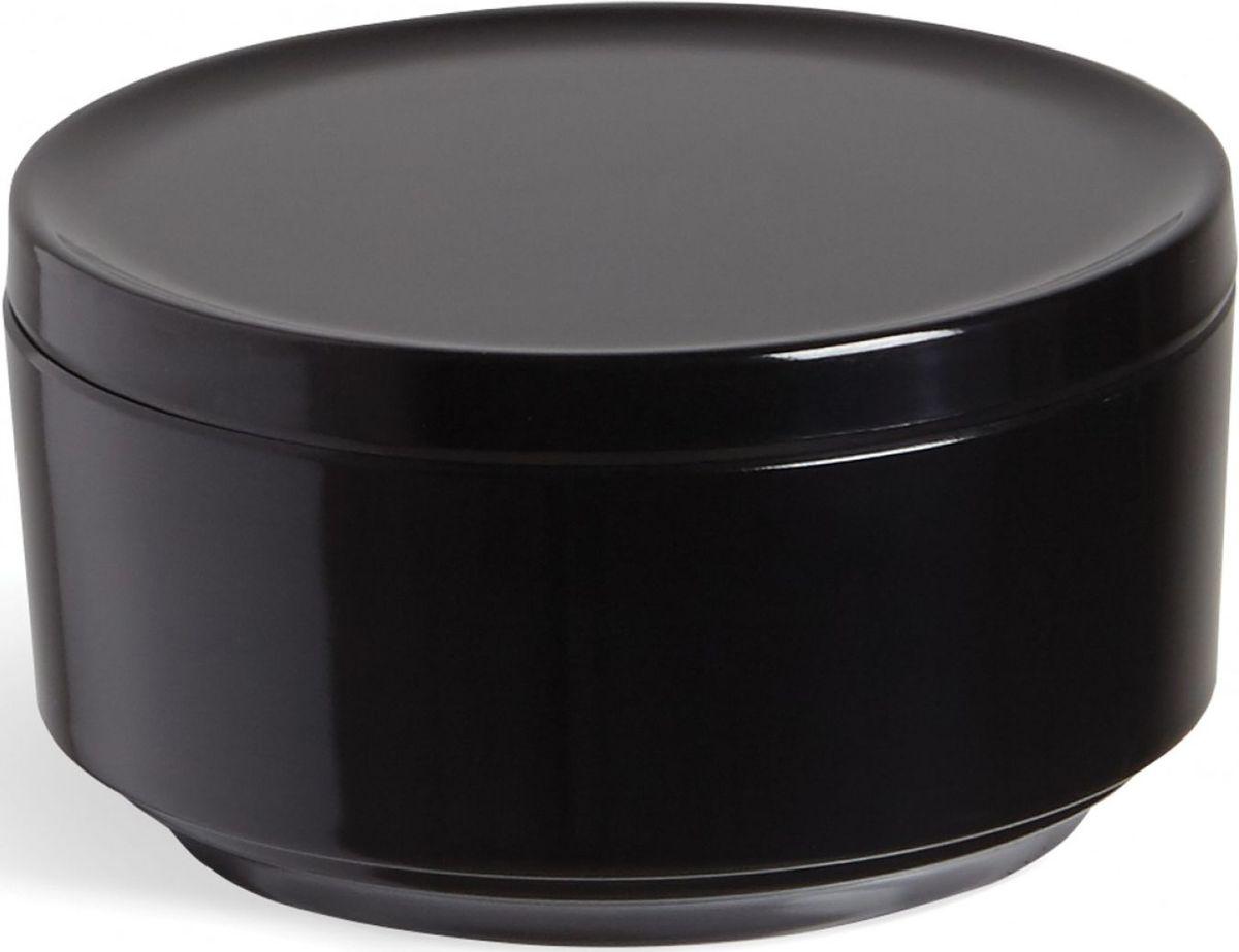 Контейнер для хранения Umbra Step, цвет: черный, 7,1 х 12,7 х 12,7 см024000-040Невероятно аккуратный и удобный контейнер из литого меламина для хранения ватных дисков и других мелочей в ванной. Блангодаря крышке, ватные диски не намокнут и не покроются пылью. Сочетается с другими аксессуарами из коллекции STEP Дизайнер Umbra Studio