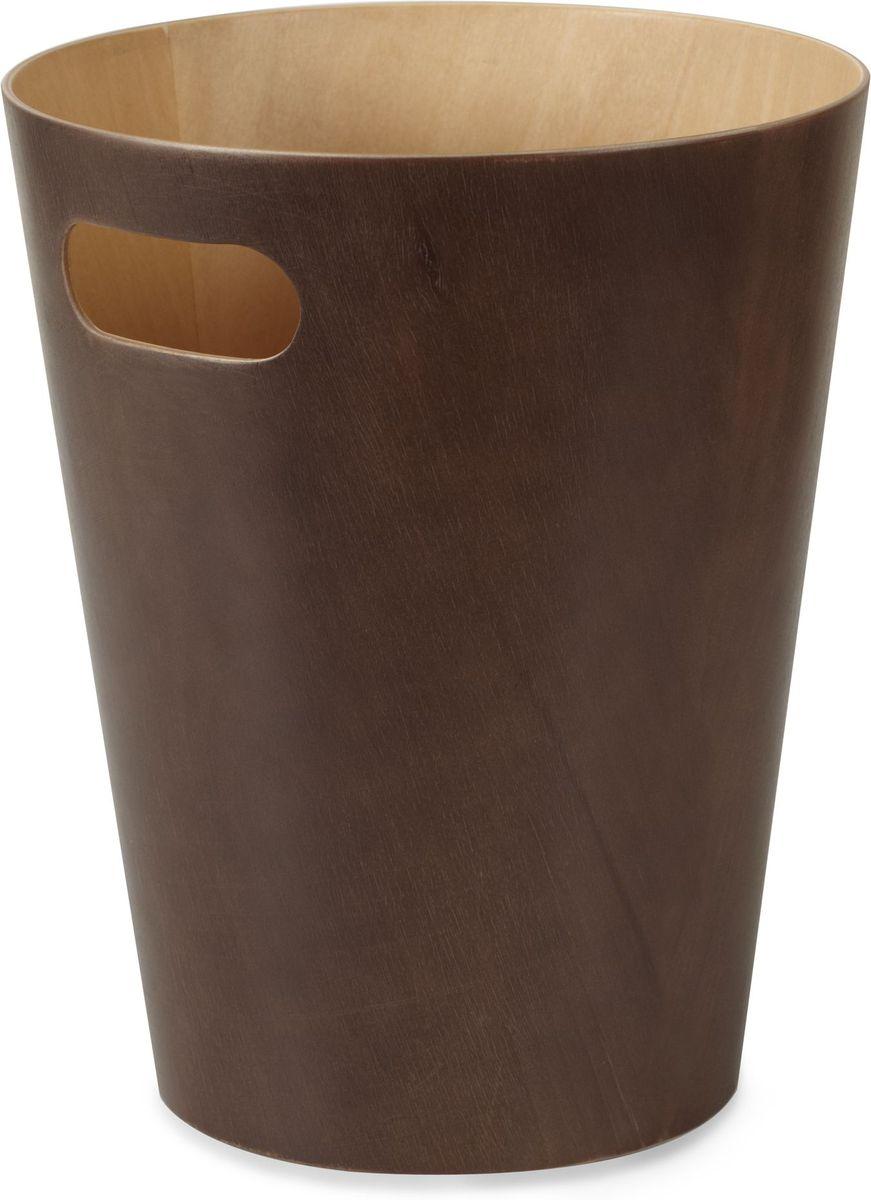 Корзина для мусора Umbra Woodrow, цвет: эспрессо, 27,9 х 22,9 х 22,9 см082780-213Минималистичная корзина для бумаг с удобной ручкой для переноски. Современный дизайн и натуральные материалы позволя.т использовать корзину и в детской, и в офисе. Материал — берёзовая гнутая фанера. Объем — 9 литров. Дизайн: Henry Huang