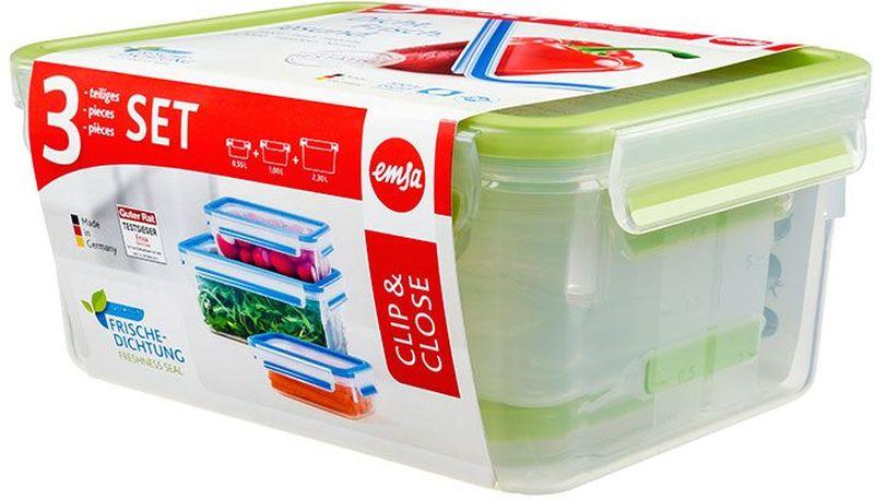 Набор контейнеров Emsa Clip&Close, цвет: зеленый, 3 предмета515585