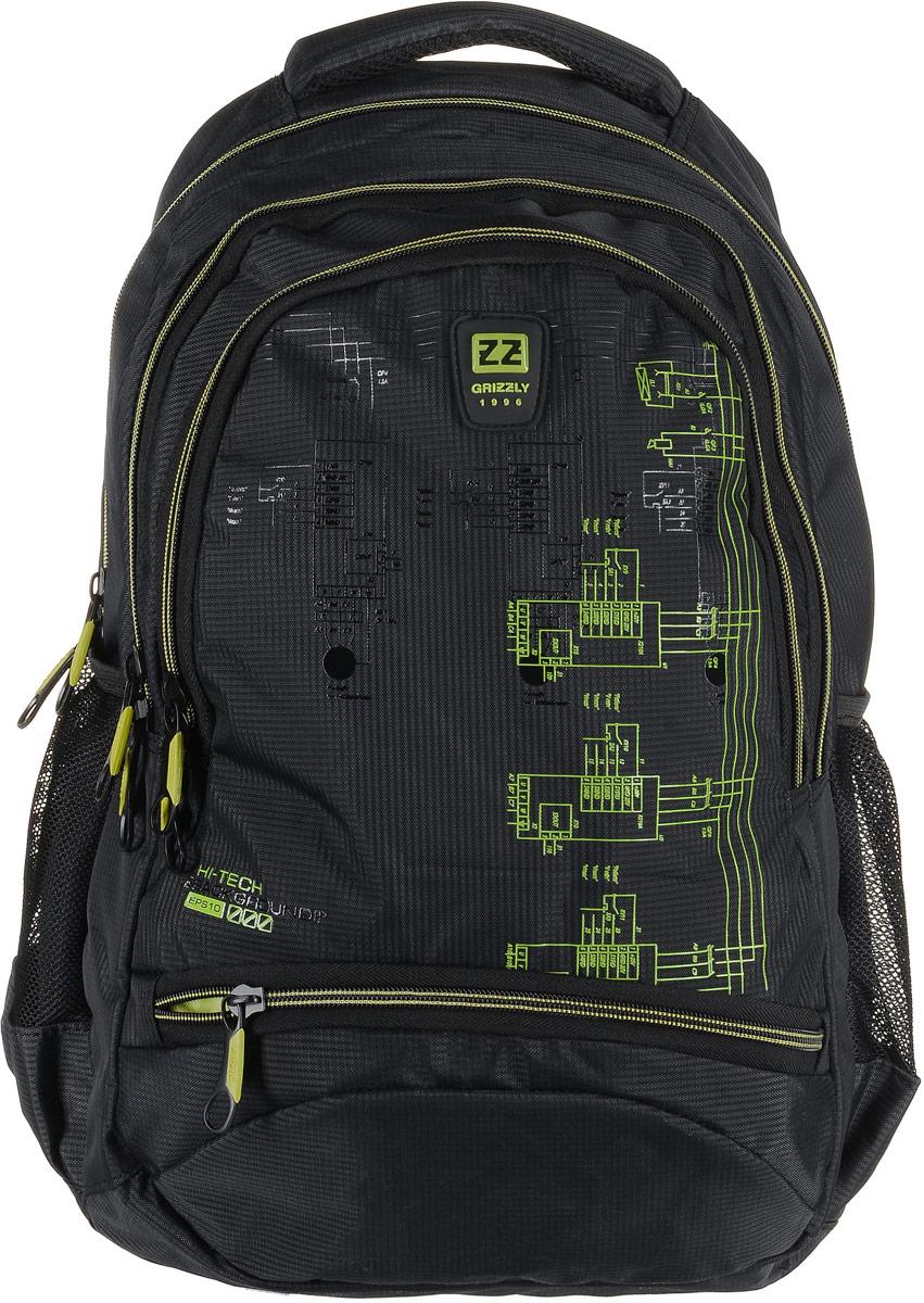 Рюкзак мужской Grizzly, цвет: темно-серый, салатовый. RU-722-2/1RU-722-2/1Рюкзак Grizzly - это красивый и удобный рюкзак, который подойдет всем, кто хочет разнообразить свои будни. Рюкзак выполнен из плотного материала с оригинальным принтом. Рюкзак содержит три вместительных отделения, каждое из которых закрывается на молнию. Внутри первого отделения имеется открытый накладной карман, на стенке которого расположился врезной карман на молнии. Второе отделение не содержит дополнительных карманов. Внутри третьего отделения расположены четыре открытых накладных кармашка. Снаружи, по бокам изделия, расположены два открытых сетчатых кармана. Лицевая сторона снизу дополнена карманом на застежке-молнии. Рюкзак оснащен мягкой укрепленной ручкой для переноски, петлей для подвешивания и двумя практичными лямками регулируемой длины. У лямок имеется нагрудная стяжка-фиксатор. Практичный рюкзак станет незаменимым аксессуаром и вместит в себя все необходимое.