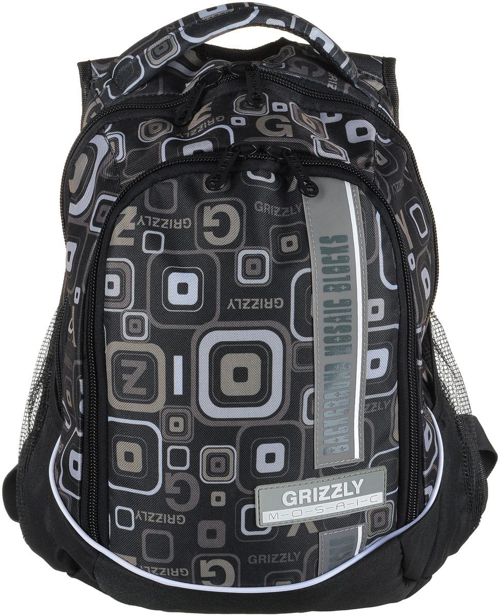 Рюкзак мужской Grizzly, цвет: черный, серый. RU-707-5/5RU-707-5/5Рюкзак Grizzly - это красивый и удобный рюкзак, который подойдет всем, кто хочет разнообразить свои будни. Рюкзак выполнен из плотного материала с оригинальным графическим принтом. Рюкзак содержит два вместительных отделения, каждое из которых закрывается на молнию. Внутри первого отделения имеется накладной карман на застежке-молнии. Второе отделение содержит два открытых накладных кармана и три кармашка под канцелярские принадлежности. Снаружи, по бокам изделия, расположены два открытых накладных сетчатых кармана. Рюкзак оснащен мягкой ручкой для переноски и двумя удобными лямками регулируемой длины. Практичный рюкзак станет незаменимым аксессуаром и вместит в себя все необходимое.