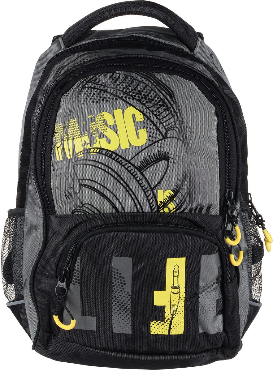 Рюкзак мужской Grizzly, цвет: серый, желтый. RU-715-1/2RU-715-1/1Рюкзак Grizzly - это красивый и удобный рюкзак, который подойдет всем, кто хочет разнообразить свои будни. Рюкзак выполнен из плотного материала с оригинальным принтом. Рюкзак содержит два вместительных отделения, каждое из которых закрывается на молнию. Внутри первого отделения имеется открытый накладной карман, на стенке которого расположился врезной карман на молнии. Внутри второго отделения расположены два открытых накладных кармана, два кармашка под канцелярские принадлежности и один врезной карман на молнии. Снаружи, по бокам изделия, расположены два сетчатых кармана. Лицевая сторона дополнена вместительным карманом на застежке-молнии. Рюкзак оснащен мягкой укрепленной ручкой для переноски, петлей для подвешивания и двумя практичными лямками регулируемой длины. Изделие дополнено светоотражающими элементами. Практичный рюкзак станет незаменимым аксессуаром и вместит в себя все необходимое.