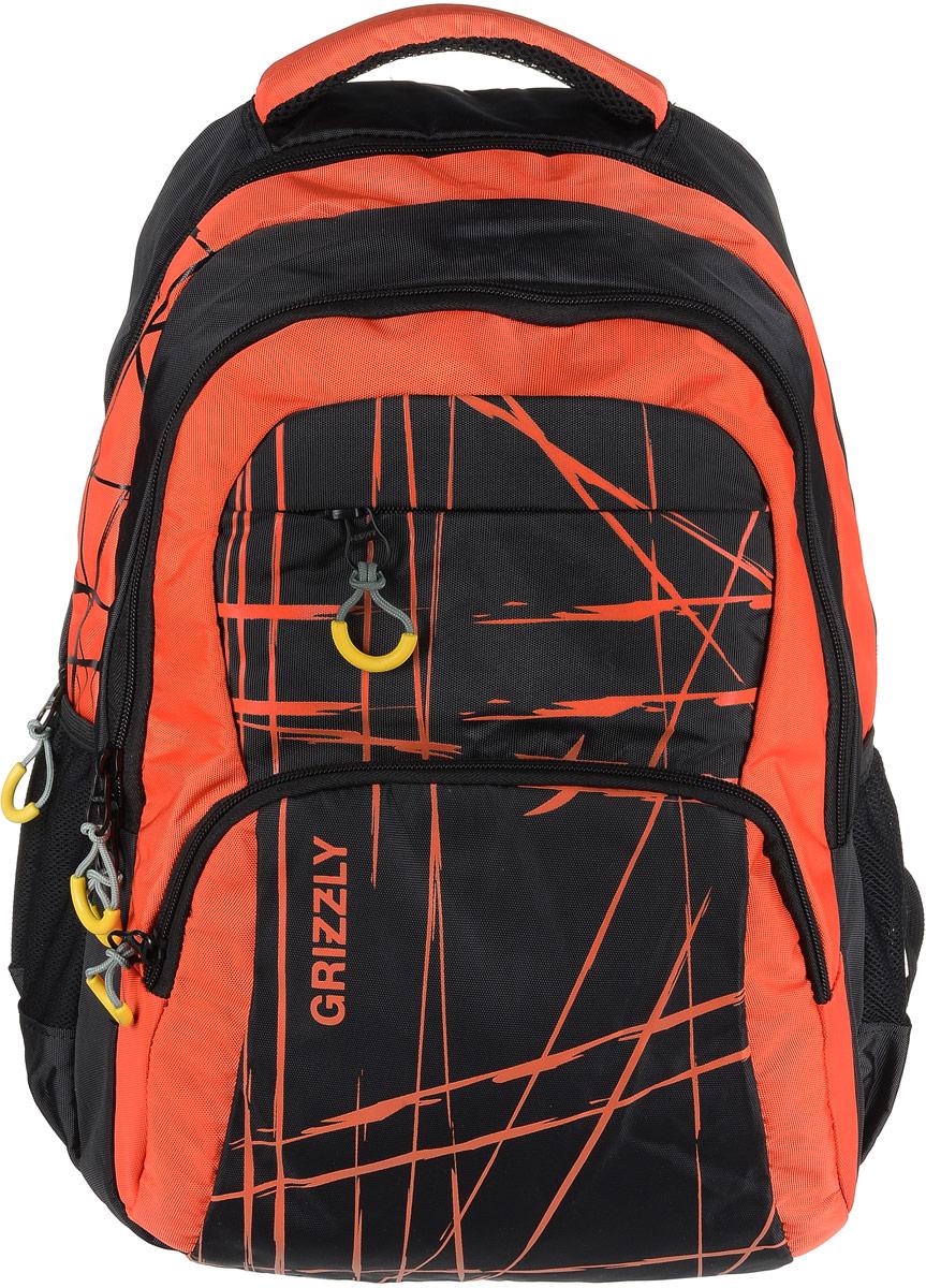 Рюкзак городской мужской Grizzly, цвет: оранжевый. RU-715-3/3RU-715-3/3Рюкзак молодежный с двумя отделениями, передними, боковыми, внутренним и карманом-пеналом, укрепленными лямками и спиной, ручкой для переноски и ручкой-вешалкой.