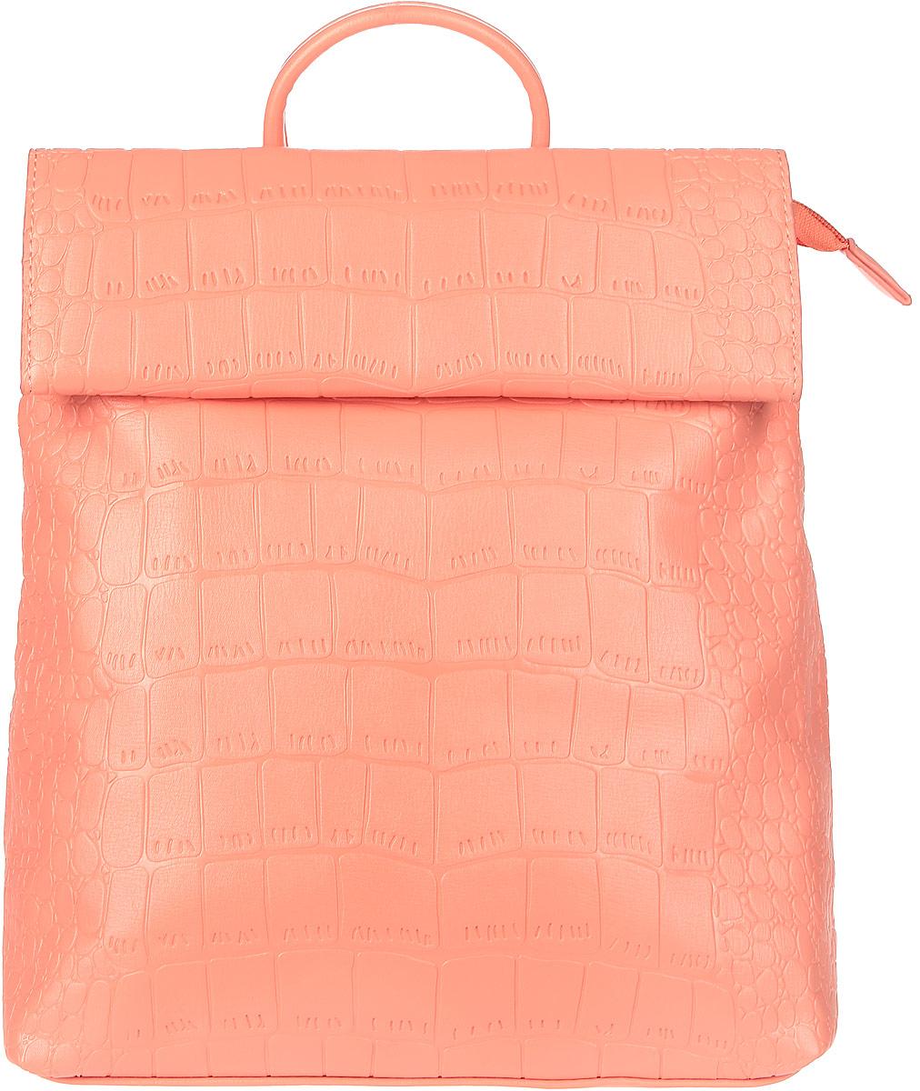 Рюкзак женский OrsOro, цвет: персиковый. D-247/17D-247/17Рюкзак с раскладывающимся клапаном, одним отделением на молнии, два внутренних кармана один из них на молнии, карман для телефона, задний карман на молнии.