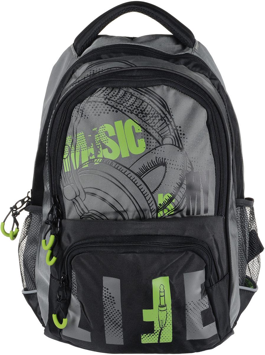 Рюкзак мужской Grizzly, цвет: серый, светло-зеленый. RU-715-1/2RU-715-1/2Рюкзак Grizzly - это красивый и удобный рюкзак, который подойдет всем, кто хочет разнообразить свои будни. Рюкзак выполнен из плотного материала с оригинальным принтом. Рюкзак содержит два вместительных отделения, каждое из которых закрывается на молнию. Внутри первого отделения имеется открытый накладной карман, на стенке которого расположился врезной карман на молнии. Внутри второго отделения расположены два открытых накладных кармана, два кармашка под канцелярские принадлежности и один врезной карман на молнии. Снаружи, по бокам изделия, расположены два сетчатых кармана. Лицевая сторона дополнена вместительным карманом на застежке-молнии. Рюкзак оснащен мягкой укрепленной ручкой для переноски, петлей для подвешивания и двумя практичными лямками регулируемой длины. Изделие дополнено светоотражающими элементами. Практичный рюкзак станет незаменимым аксессуаром и вместит в себя все необходимое.
