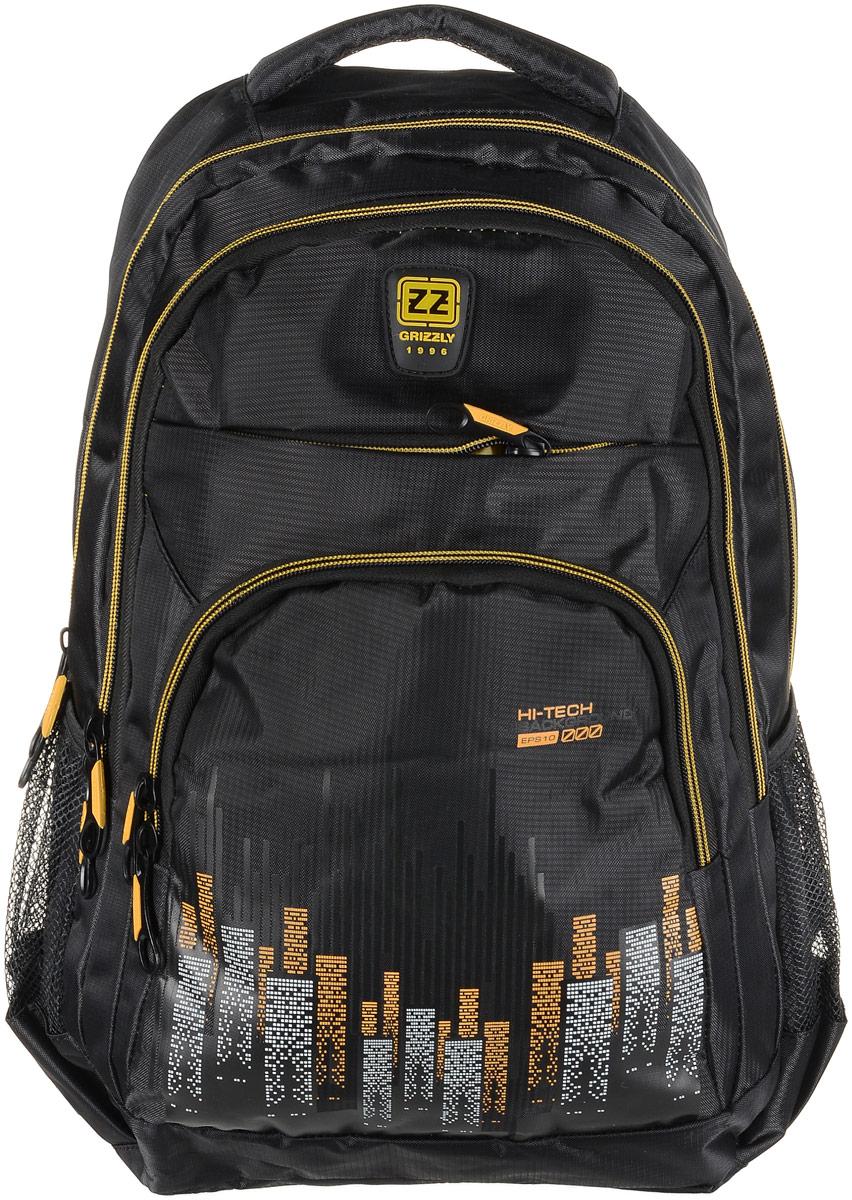 Рюкзак городской мужской Grizzly, цвет: желтый. RU-722-1/2RU-722-1/2Рюкзак молодежный, два отделения, карман на молнии на передней стенке, объемный карман на молнии на передней стенке, боковые карманы из сетки, внутренний карман-пенал для карандашей, жесткая анатомическая спинка, дополнительная ручка-петля, мягкая укрепленная ручка, нагрудная стяжка-фиксатор, укрепленные лямки, карман внутренний для гаджета с карманом на молнии