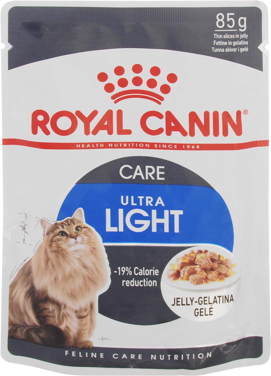 Консервы Royal Canin Ultra Light, для кошек, склонных к полноте, мелкие кусочки в желе, 85 г786001Консервы Royal Canin Ultra Light - полнорационный влажный корм рекомендован кошкам старше 1 года. Излишний вес может нанести вред здоровью вашей кошки! Излишний вес у кошек обычно бывает вызван несбалансированностью между поступлением энергии (слишком большим количеством еды или высококалорийной диетой) и расходом энергии (недостаточной подвижностью). У взрослых кошек, особенно имеющих лишний вес, может развиться мочекаменная болезнь, возникающая из-за недостаточного потребления воды и редкого мочеиспускания Если при похудении используется питание с недостаточным содержанием белка, возможны потери не только жировой, но и мышечной массы кошки. -19% калорий. Влажный корм Ultra Light 10 помогает сократить количество спонтанно потребляемых кошкой калорий. L-карнитин стимулирует расщепление жиров. Поддержание мышечной массы. Способствует поддержанию мышечной массы кошки благодаря высокому содержанию биологически ценного протеина...
