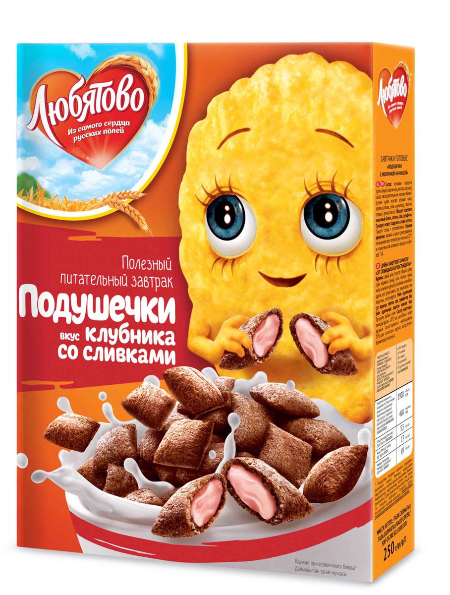 Любятово Готовый завтрак Подушечки клубника со сливками, 250 г1611Полезное лакомство в виде подушечек со сливочной начинкой.