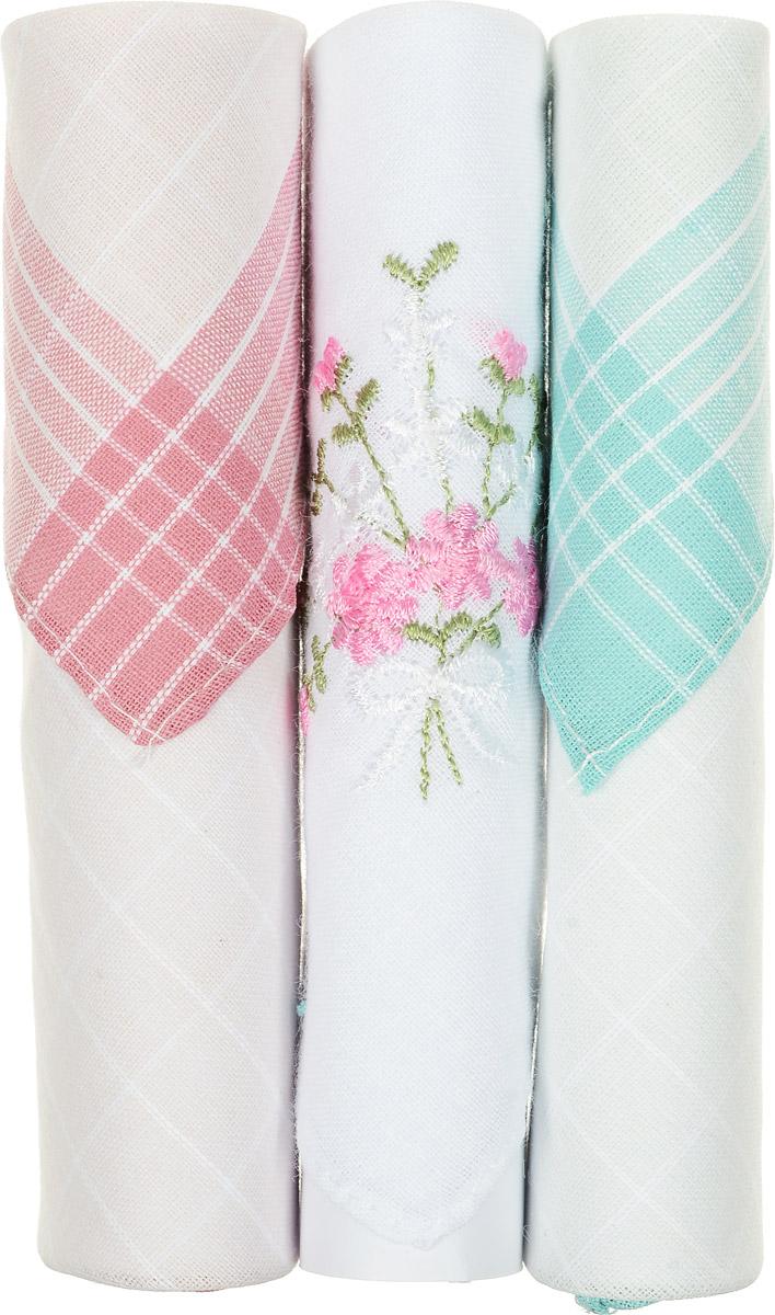 Платок носовой женский Zlata Korunka, цвет: розовый, белый, бирюзовый, 3 шт. 40423-71. Размер 28 см х 28 см40423-71Небольшой женский носовой платок Zlata Korunka изготовлен из высококачественного натурального хлопка, благодаря чему приятен в использовании, хорошо стирается, не садится и отлично впитывает влагу. Практичный и изящный носовой платок будет незаменим в повседневной жизни любого современного человека. Такой платок послужит стильным аксессуаром и подчеркнет ваше превосходное чувство вкуса. В комплекте 3 платка.