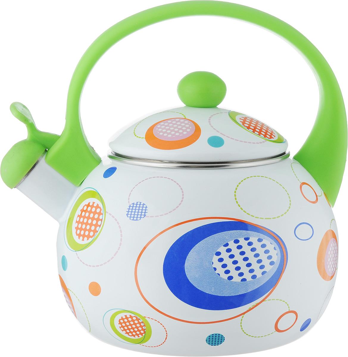 Чайник эмалированный Wellberg, со свистком, цвет: зеленый, 2,2 л3403 WB_зеленый, кругиЧайник эмалированный Wellberg, со свистком, цвет: зеленый, 2,2 л