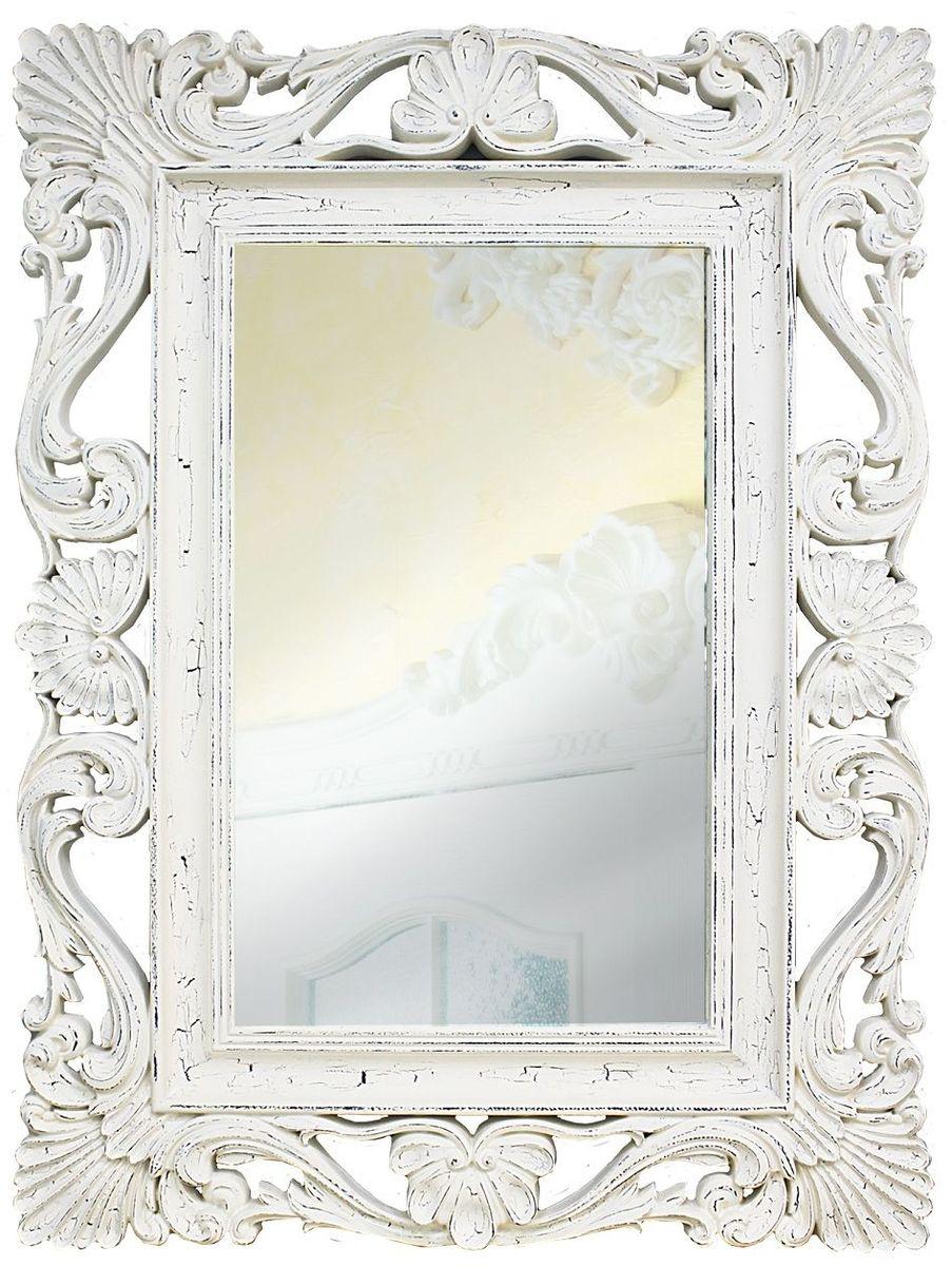 Зеркало VezzoLLi Альберио, цвет: белый, 86 х 114 см22-02Рама окрашена в технике состаривания для придания изделию эффекта роскошной древности. С обратной стороны зеркало снабжено тремя металлическими подвесами для возможности разместить его и вертикально и горизонтально. Видимый размер зеркального полотна 74х46 см.
