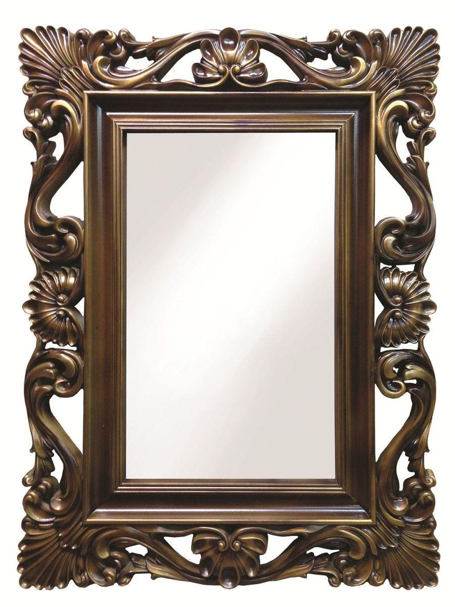Зеркало VezzoLLi Альберио, цвет: коричневый, 86 х 114 см22-41С обратной стороны зеркало снабжено тремя металлическими подвесами для возможности разместить его и вертикально и горизонтально. Видимый размер зеркального полотна 74х46 см.
