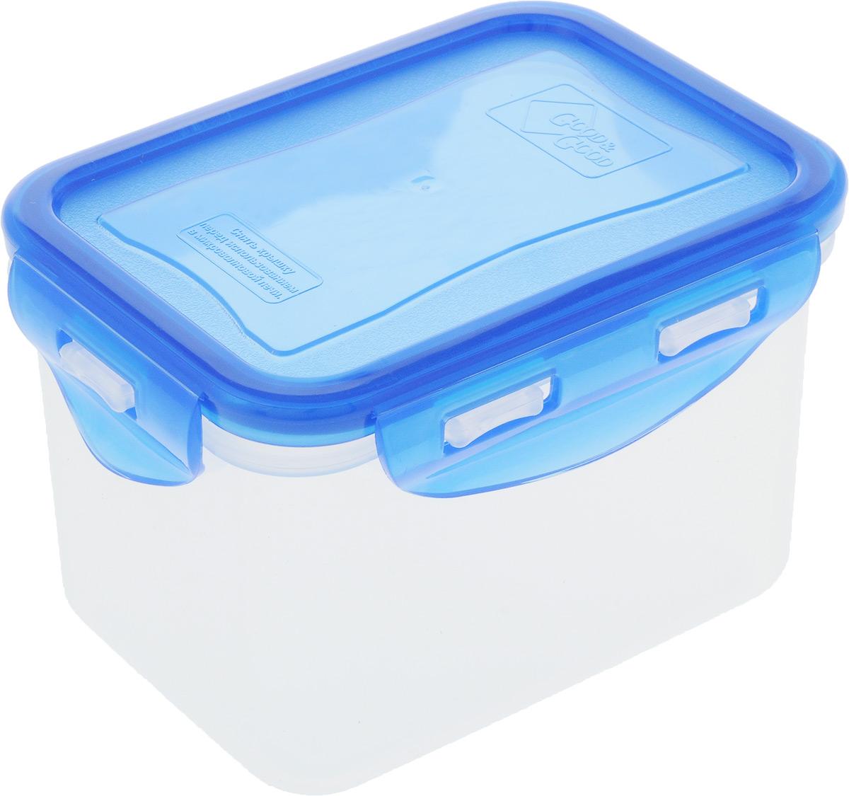 Контейнер пищевой Good&Good, прямоугольный, цвет: прозрачный, синий02-2/COLORS_прозрачный, синийКонтейнер пищевой Good&Good, прямоугольный, цвет: прозрачный, синий