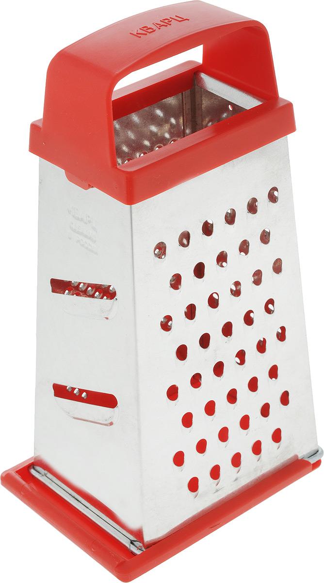 Терка Кварц, четырехгранная, со съемным дном, цвет: серебристый, красный, высота 21 смК01.001.03_серебристый, красныйЧетырехгранная терка Кварц, выполненная из высококачественной жести и пластика, станет незаменимым атрибутом приготовления пищи. На одном изделии представлены четыре вида терок - крупная, средняя, мелкая и нарезка ломтиками. Терка оснащена съемным дном и удобной ручкой. Терка Кварц станет достойным дополнением к вашему кухонному инвентарю. Высота терки: 21 см. Размер основания: 12 х 9 см.
