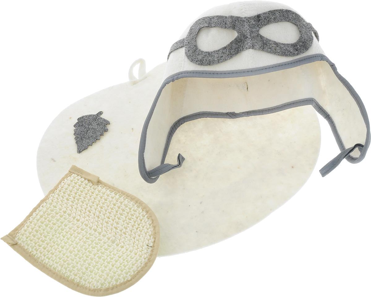 Набор для бани и сауны Главбаня Пилот, цвет: белый, зеленый, 3 предметаБ32302_белый, зеленая мочалкаНабор для бани и сауны Главбаня Пилот состоит из необходимых аксессуаров для того, чтобы банный поход принес вам только радость. В набор входят: - Шапка из войлока, выполненная в виде летного шлема. Это незаменимая вещь в парной. Она необходима для того, чтобы не перегреть голову. - Мочалка средней жесткости из крапивы и хлопка. Оказывает нежное массажное и прекрасное отшелушивающее воздействие на кожу. - Коврик из войлока, украшенный аппликацией в виде листочка. Он убережет вас от горячей полки и защитит в общественной бане. Размер коврика: 43 х 34 см. Размер мочалки: 19 х 15,5 см. па Высота шапки: 34 см.