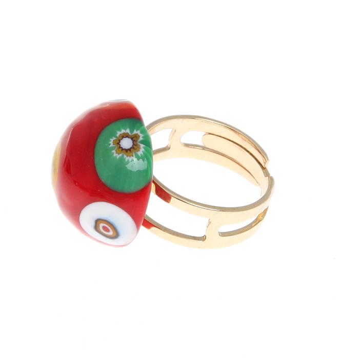 Кольцо коктейльное Цветочная поляна. Муранское стекло, бижутерный сплав золотого тона, ручная работа. Murano, Италия (Венеция)кольцо Ornamental