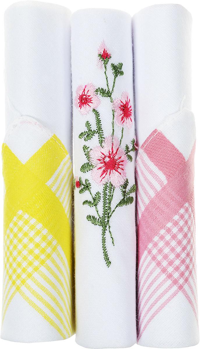 Платок носовой женский Zlata Korunka, цвет: розовый, белый, желтый, 3 шт. 40423-111. Размер 28 см х 28 см40423-111Небольшой женский носовой платок Zlata Korunka изготовлен из высококачественного натурального хлопка, благодаря чему приятен в использовании, хорошо стирается, не садится и отлично впитывает влагу. Практичный и изящный носовой платок будет незаменим в повседневной жизни любого современного человека. Такой платок послужит стильным аксессуаром и подчеркнет ваше превосходное чувство вкуса. В комплекте 3 платка.