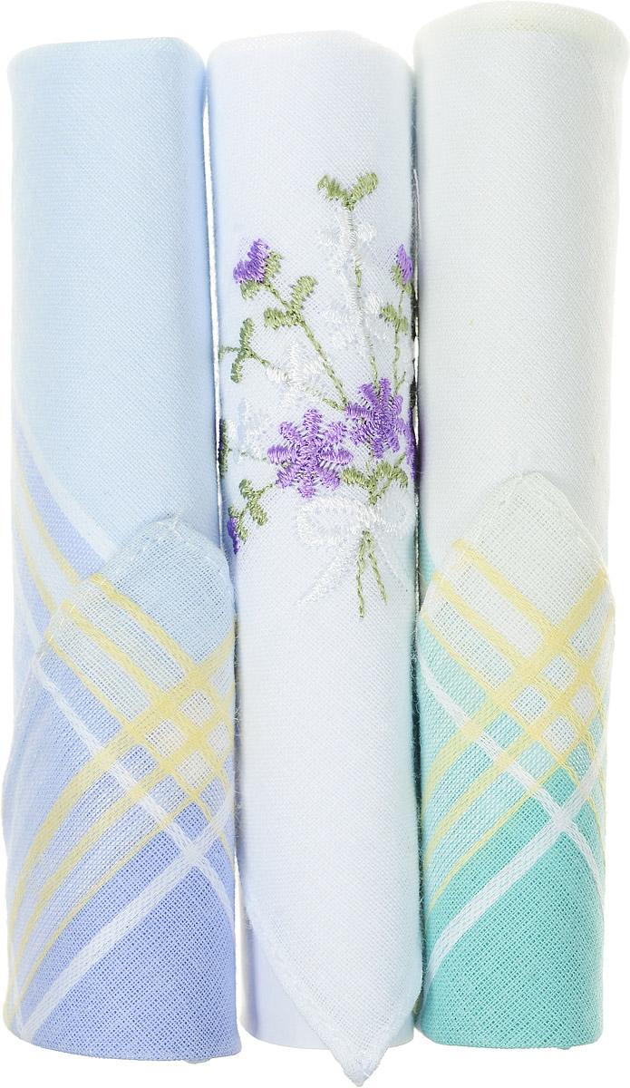 Платок носовой женский Zlata Korunka, цвет: бирюзовый, белый, голубой, 3 шт. 40423-66. Размер 28 см х 28 см40423-66Небольшой женский носовой платок Zlata Korunka изготовлен из высококачественного натурального хлопка, благодаря чему приятен в использовании, хорошо стирается, не садится и отлично впитывает влагу. Практичный и изящный носовой платок будет незаменим в повседневной жизни любого современного человека. Такой платок послужит стильным аксессуаром и подчеркнет ваше превосходное чувство вкуса. В комплекте 3 платка.