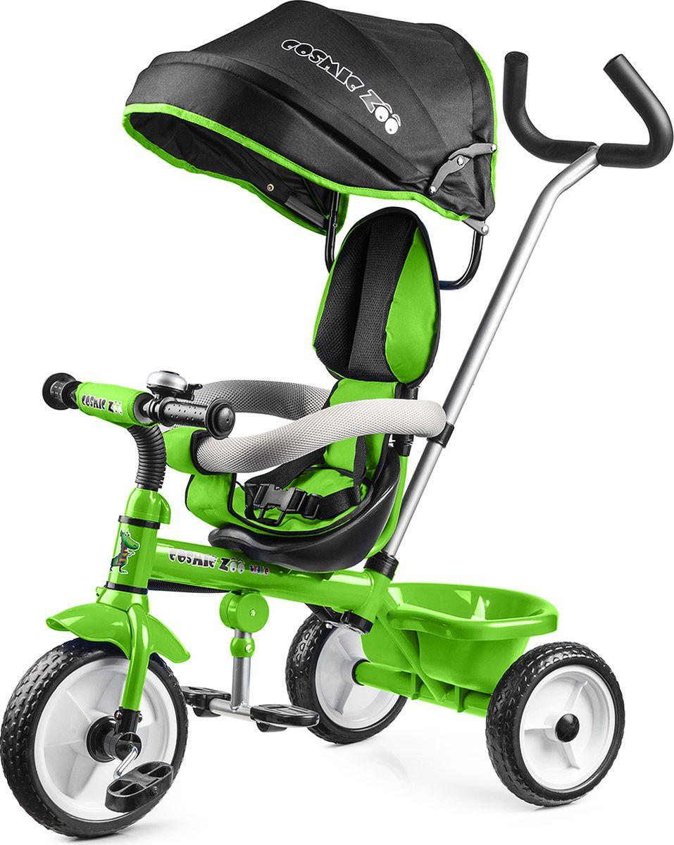 Small Rider Велосипед трехколесный Cosmic Zoo Trike цвет зеленый1283894Трехколесный велосипед Cosmic Zoo Trike Представляем потрясающую новинку - трехколесный детский велосипед Small Rider Cosmic Zoo Trike (Смолл Райдер Космик Зоо Трайк). Если перевести с английского, то получится Велосипед Космический зоопарк. Обаятельные персонажи с планеты Мегарион - тигренок, волк, динозаврик и медвежонок будут сопровождать малыша во время приятных прогулок. Cosmic Zoo Trike - настоящий шедевр за доступную цену! Данная модель объединила в себе весь необходимый функционал детского трехколесного велосипеда, а также яркий, нарядный дизайн, стиль и доступную цену. Альтернатива прогулочной коляске Велосипед имеет круглую крышу-капор, и, по совокупности возможностей, является хорошей альтернативой прогулочной коляске. Ведь он также как и коляска имеет ремни безопасности, складную подножку, мягкое сиденье, спинку, подголовник. В дороге будет не скучно! Несмотря на обилие функций прогулочной коляски Cosmic Zoo...