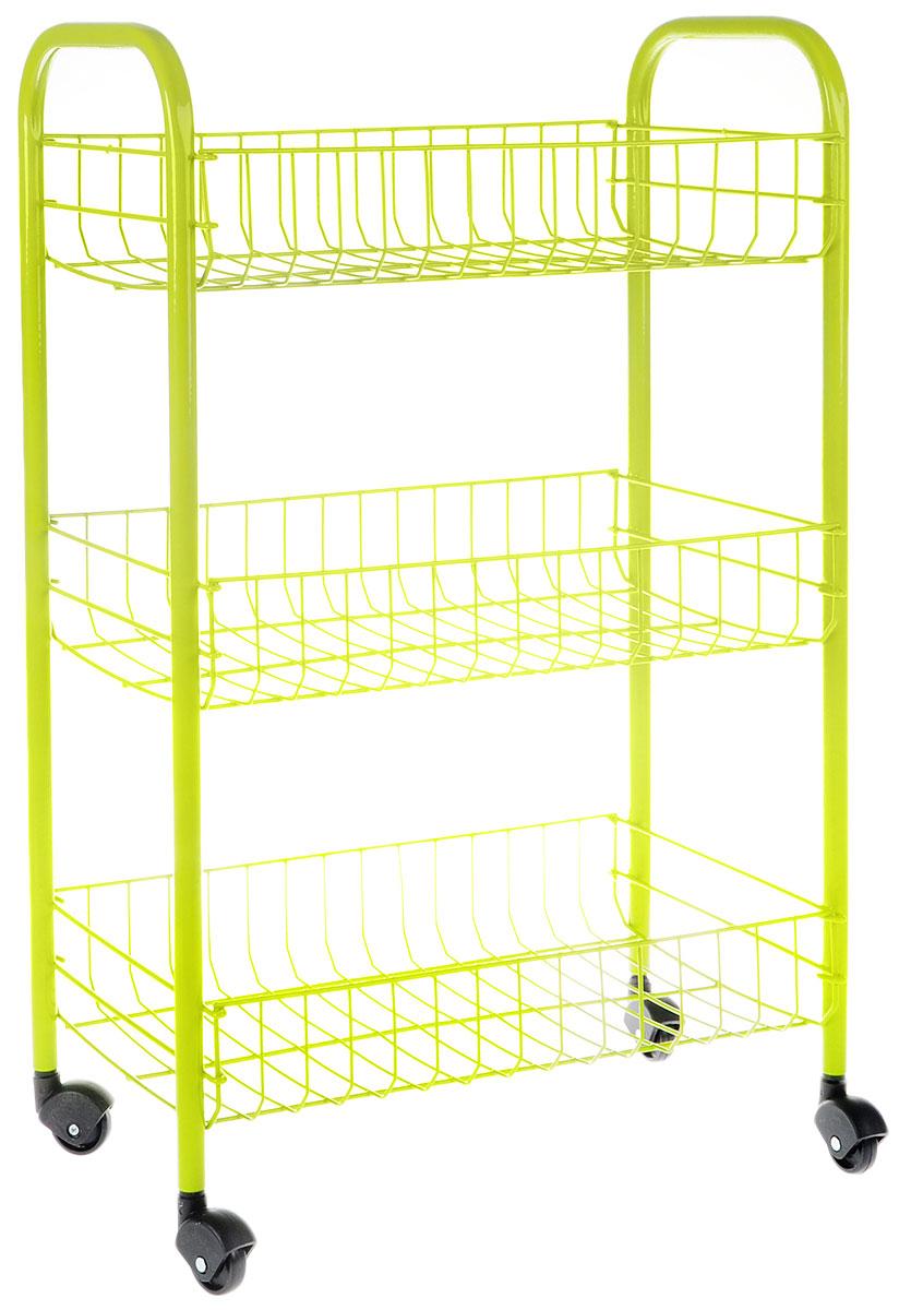 Этажерка Metaltex Siena Color, 3-уровневая, цвет: салатовый, 41 x 23 x 63 см. 34.06.33-12534.06.33-125_салатовыйЭтажерка Metaltex Siena Color с тремя полками выполнена из высококачественной стали, окрашенной краской, содержащей эпоксидный порошок. Очень удобная и компактная, но в то же время вместительная, она прекрасно впишется в пространство любого помещения. Ее можно установить в ванной комнате, и ваши шампуни, гели для душа и различные крема всегда будут под рукой; на кухне этажерку можно использовать для хранения посуды и продуктов. Благодаря пластиковым колесикам этажерку можно перемещать в любую сторону без особых усилий. Размер этажерки (в собранном виде): 41 х 23 х 63 см.